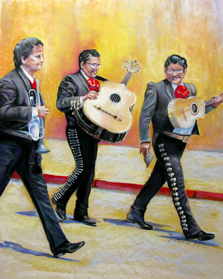 Figure Pastel - Marching Mariachi by Carole Haslock