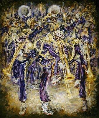 Mardi Gras Bands Painting - Mardi Gras Bands by Charles Simms