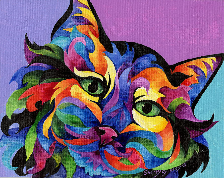 Cat Painting - Mardi Gras Cat by Sherry Shipley