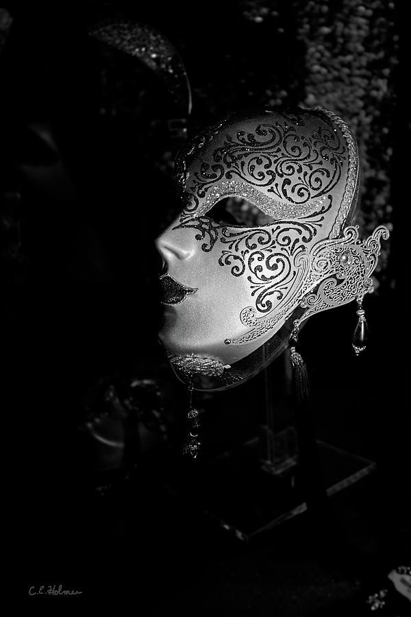 Mask Photograph - Mardi Gras Mask  B-w by Christopher Holmes