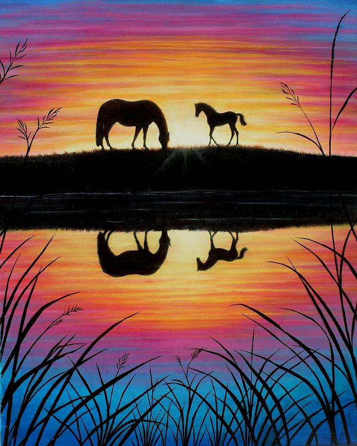 Horse Painting - Mare And Foal Sunrise by Yvonne Hazelton