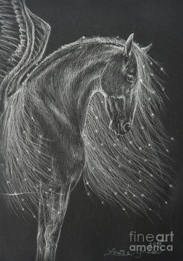 Pegasus Drawing - Mare Of The Midnight Stars by Louise Green