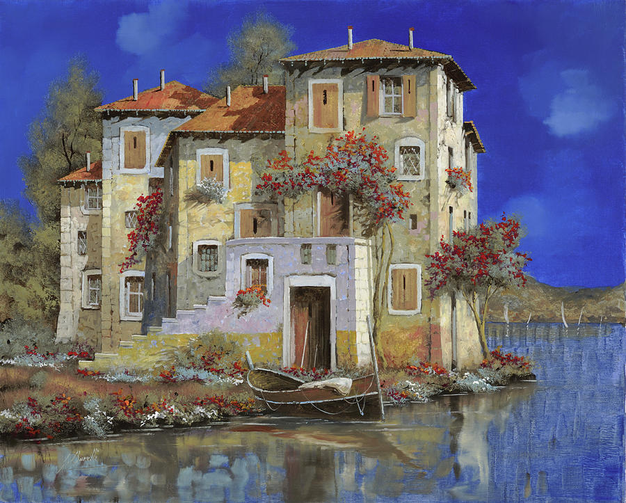 Landscape Painting - Mareblu by Guido Borelli