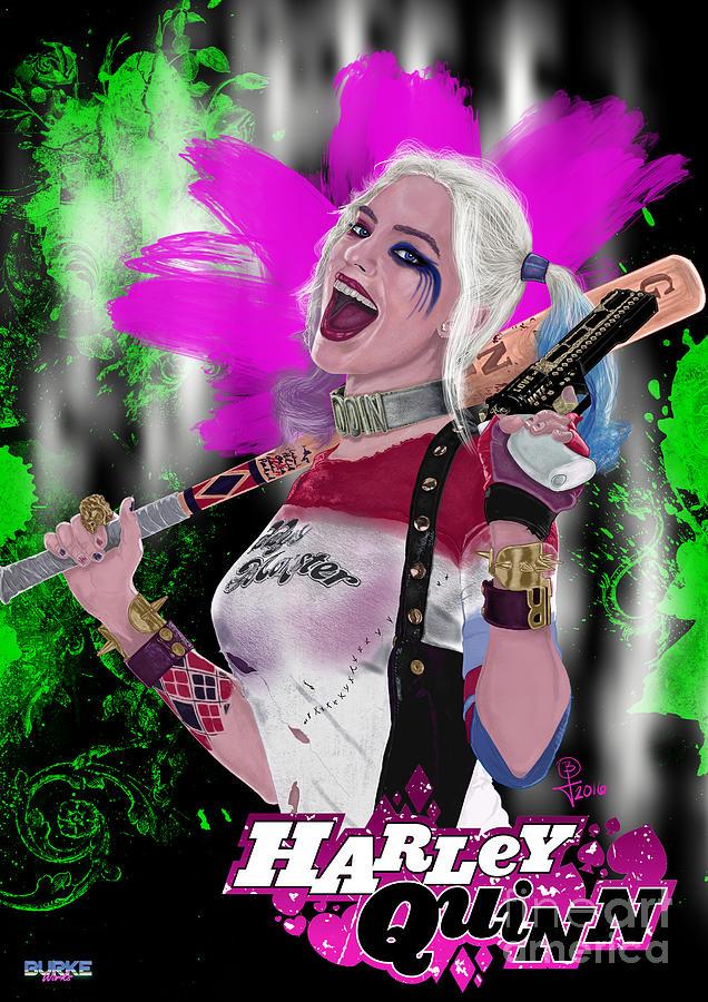 Margot Robbie Digital Art - Margot Robbies Harley Quinn by Joseph Burke