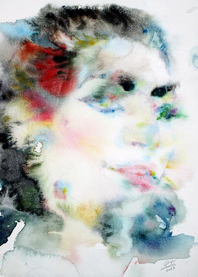 Maria Painting - Maria Callas - Watercolor Portrait.4 by Fabrizio Cassetta