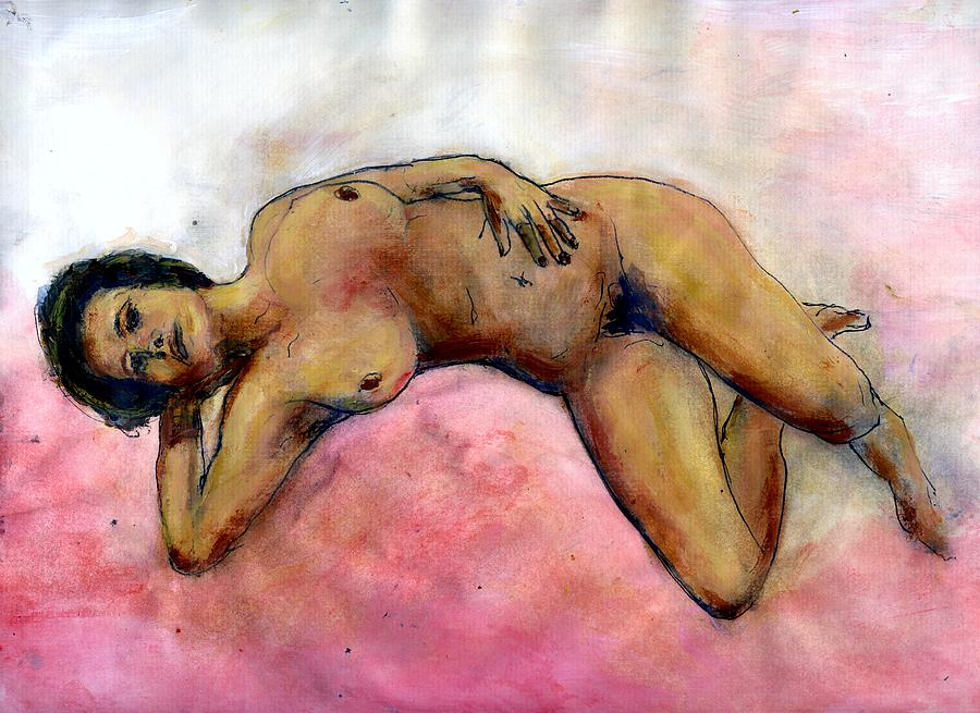 Nude Painting - Nude Maria On Pink Sheets by Randy Sprout