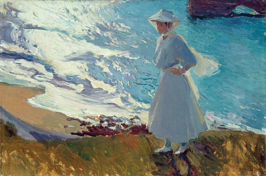 Joaquin Sorolla Y Bastida Painting - Maria on the Beach at Biarritz or Contre-jour by Joaquin Sorolla y Bastida