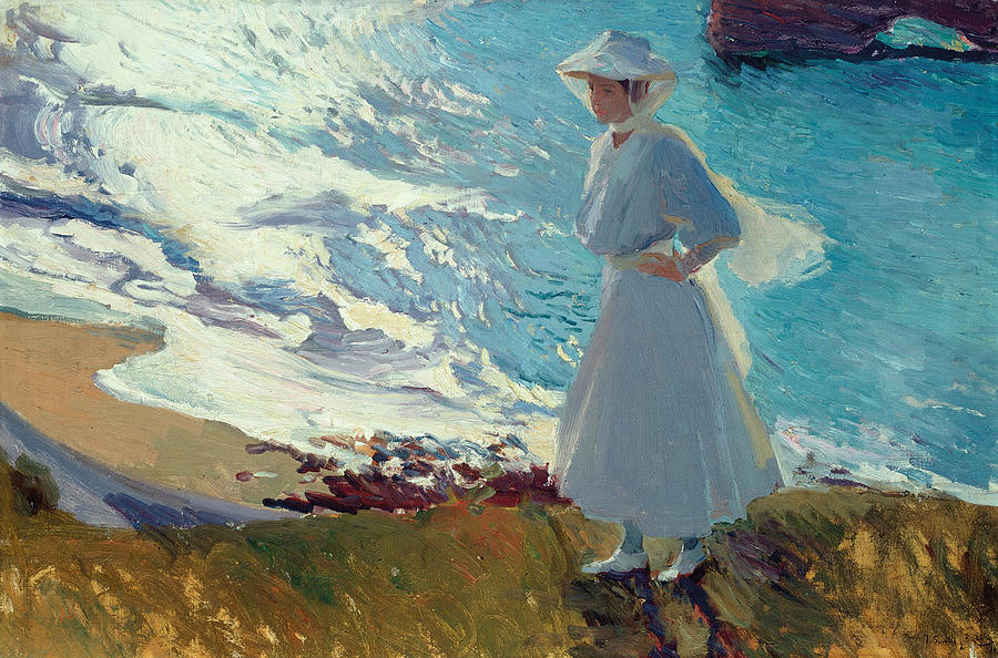 Maria on the Beach at Biarritz or Contre-jour Painting by Joaquin Sorolla