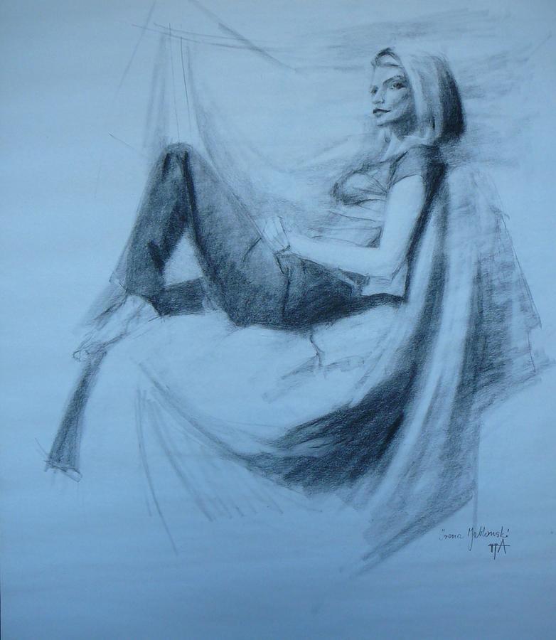 Woman Drawing - Marie by Irena  Jablonski