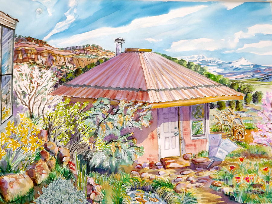 Maries Straw Bale House Painting by Annie Gibbons