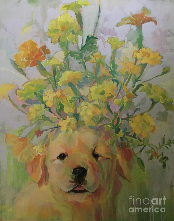 Golden Retriever Painting - Marigold by Kimberly Santini