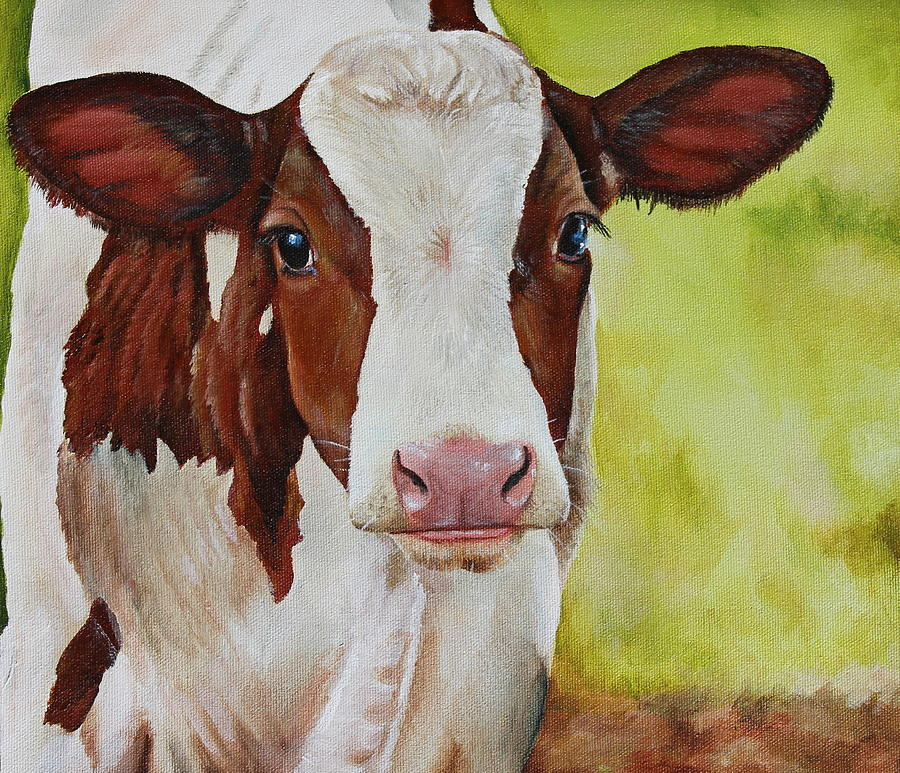 Cow Painting - Marigold by Laura Carey