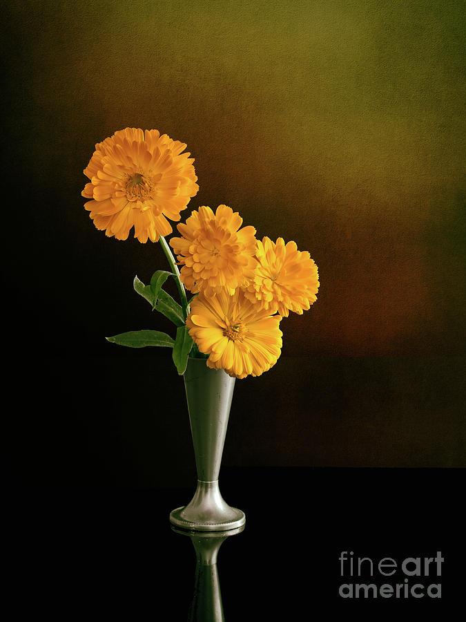 Marigold Photograph - Marigolds in vase. Calendula. by Judith Flacke