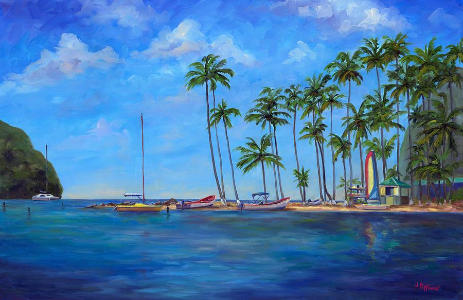St Lucia Painting - Marigot Bay St. Lucia by Jeff Pittman