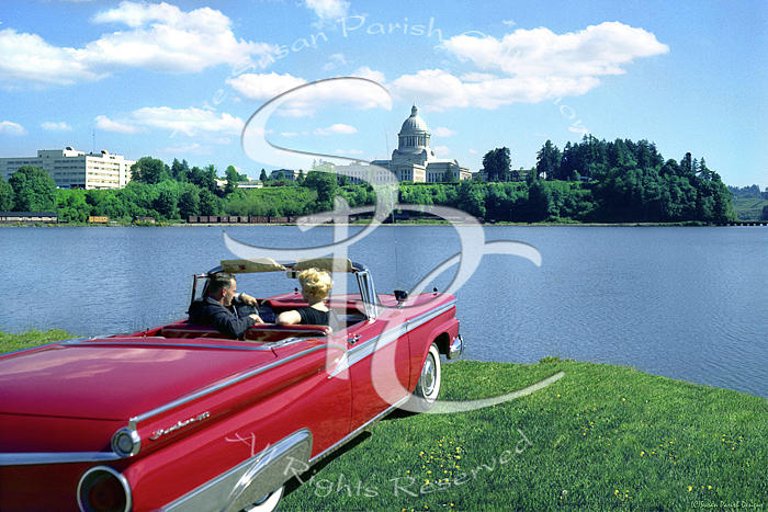 MARILYN AND ARTHUR AT CAPITOL LAKE by Merle Junk
