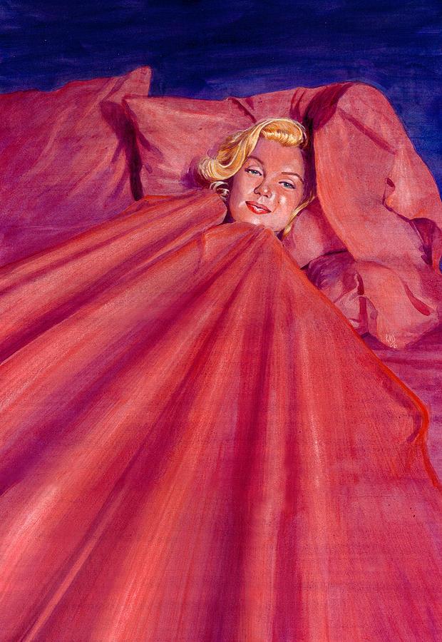 Marilyn Monroe Painting - Marilyn In Bed by Ken Meyer jr