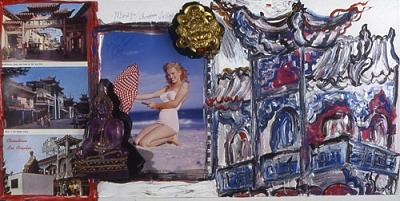 Assemblage Painting - Marilyn In Chinatown by Simone Gad