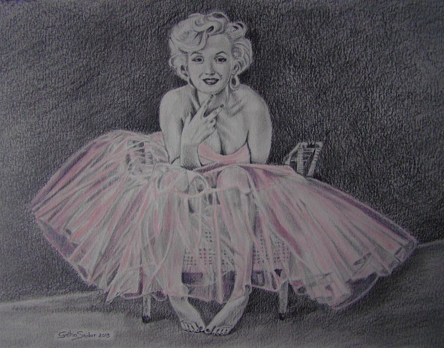 Marilyn Monroe Drawing - Marilyn In Pink by Cynthia Snider
