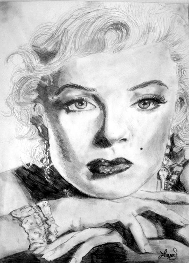 Celebrity Drawing - Marilyn In Pose by Laura Seed