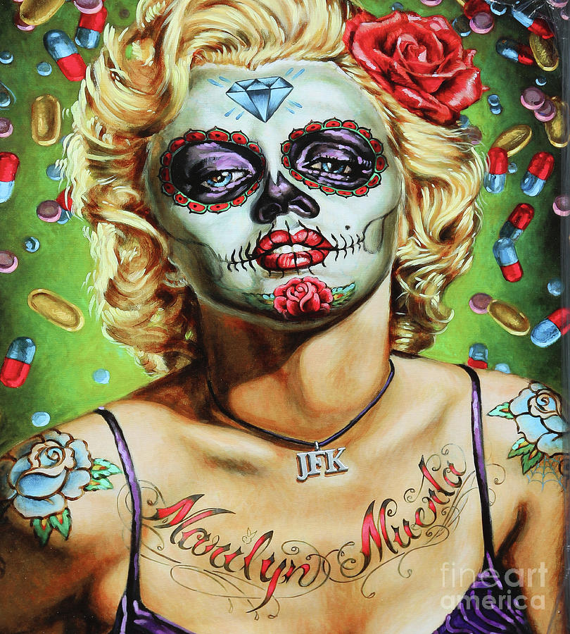 Dia De Los Muertos Photograph - Marilyn Monroe Jfk Day Of The Dead  by Chuck Kuhn