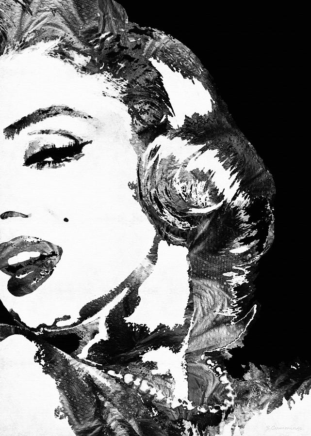 Marilyn Painting - Marilyn Monroe Painting - Bombshell Black And White - By Sharon Cummings by Sharon Cummings