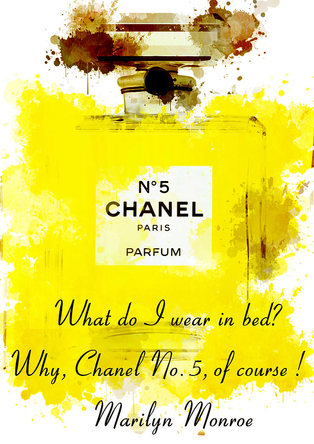 Marilyn Monroe Quotes 5 About Chanel No. 5 Painting by Diana Van