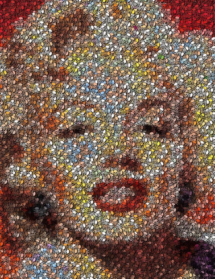 Marilyn Monroe Skull Mosaic Digital Art By Paul Van Scott