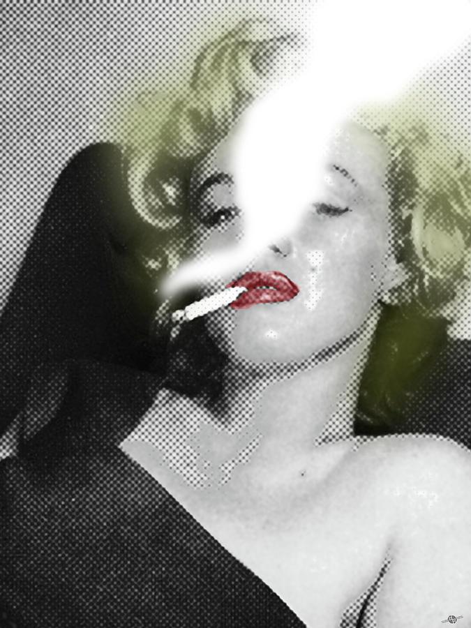 Marilyn Monroe Painting - Marilyn Monroe Smokes by Tony Rubino