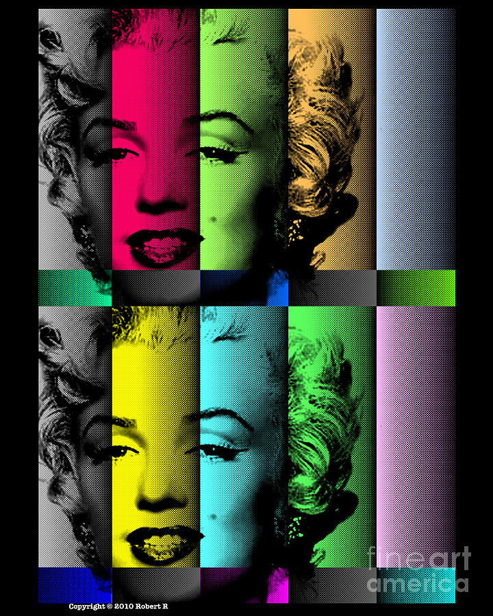 Robert Traxon Graphic Design: Marilyn Monroe Tv Test Pattern At Midnight After Warhol By