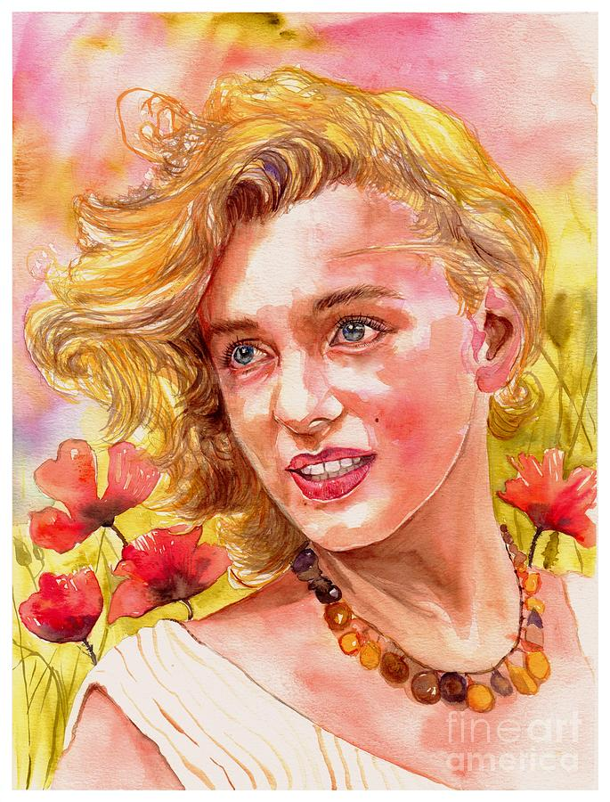 Marilyn Monroe Painting - Marilyn Monroe With Poppies by Suzann Sines