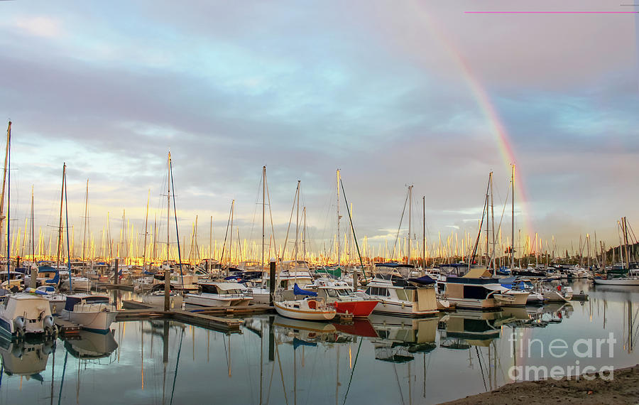Marina at the Golden Hour with sunshine highlighting the masts of the sailboats and a rainbow in the by Susan Vineyard