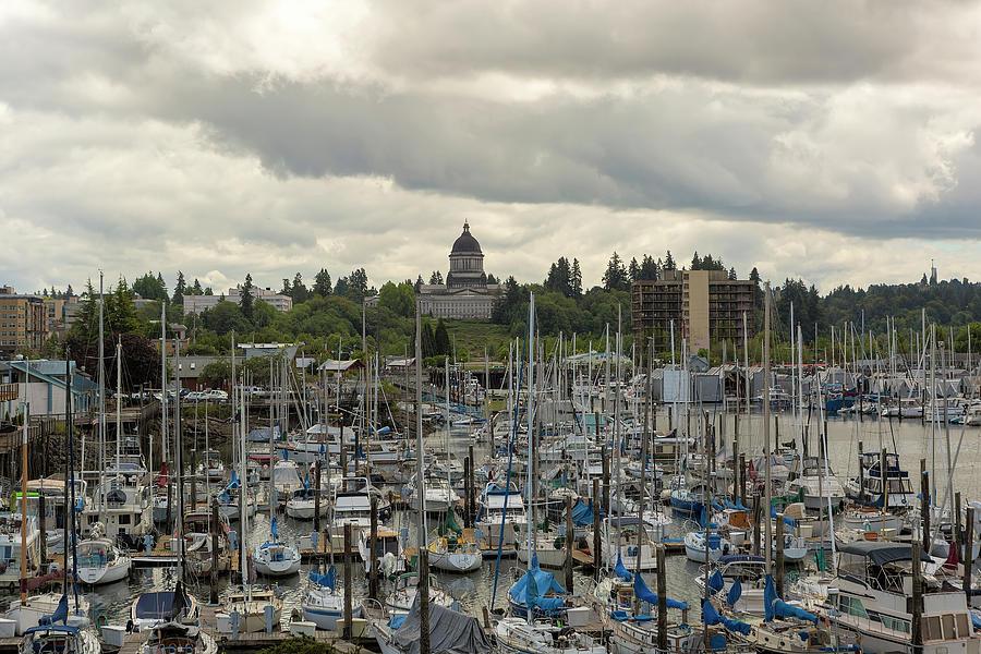 Olympia Photograph - Marina in Olympia Washington Waterfront Moorage by David Gn