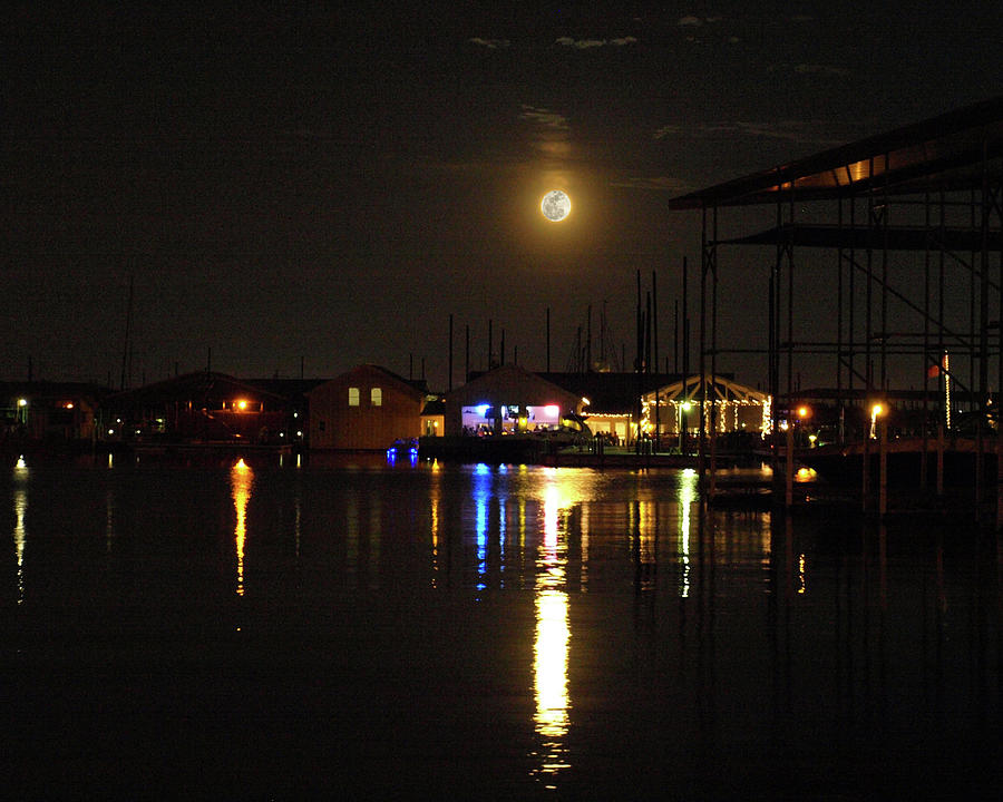 Moon Photograph - Marina Moon by C Winslow Shafer