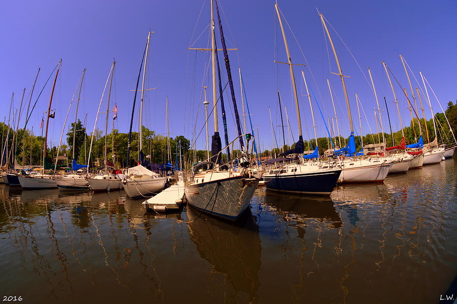 Sailboats Photograph - Marina Reflections by Lisa Wooten