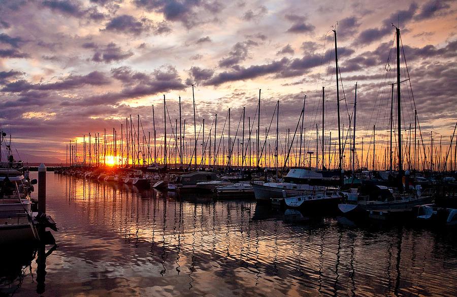 Sunset Photograph - Marina Sunset by Mike Reid