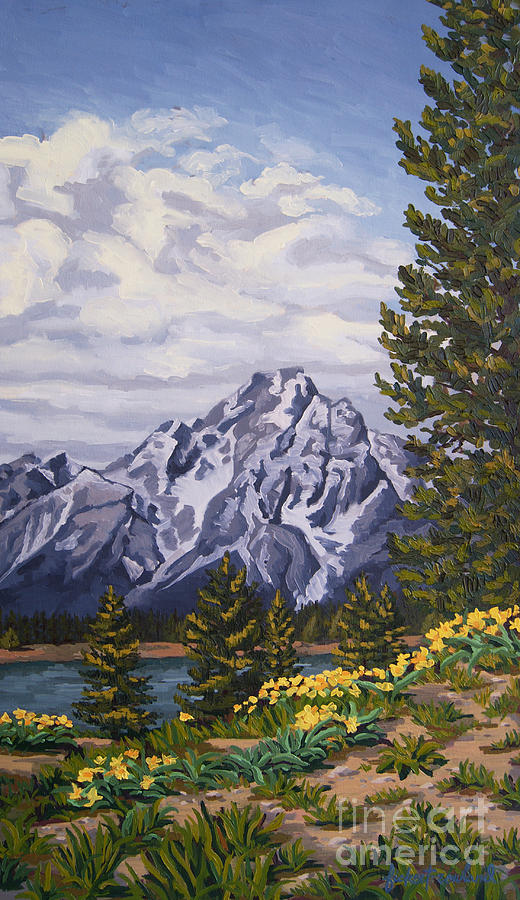 Grand Tetons Painting - Marinas Edge, Jenny Lake, Grand Tetons by Erin Fickert-Rowland