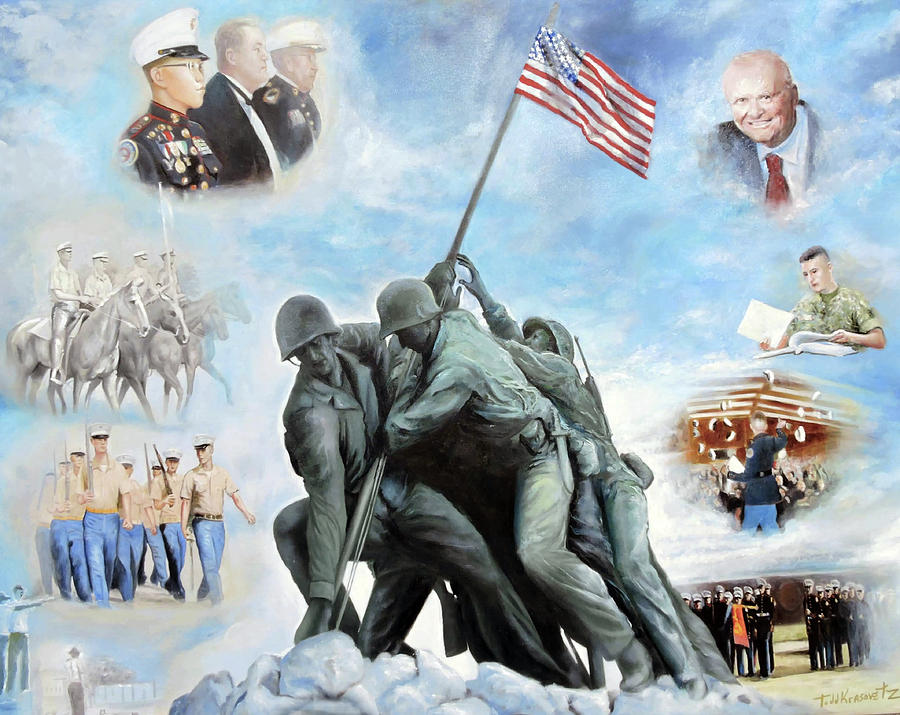 Marine Corps Art Academy Commemoration Oil Painting By Todd Krasovetz Photograph by Todd Krasovetz