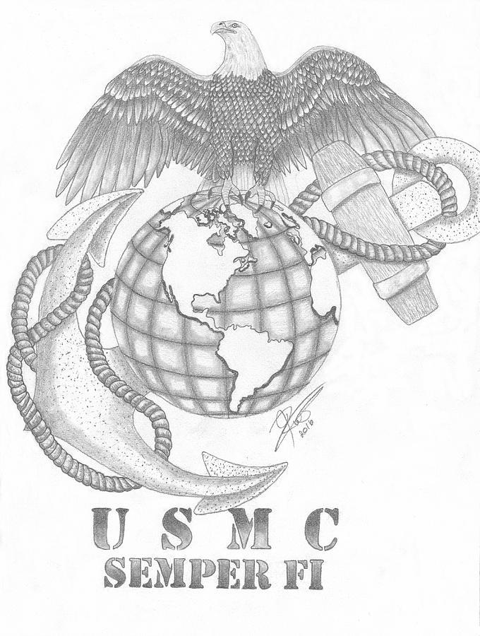 marine corps tribute drawing by jocelyn ruston