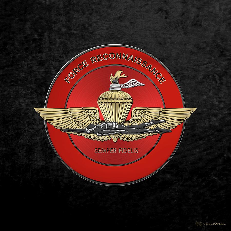 Military Digital Art - Marine Force Reconnaissance  -  U S M C   F O R E C O N  Insignia Over Black Velvet by Serge Averbukh