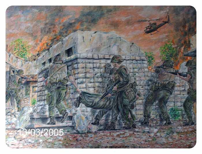 Military Drawing - Marines At Hue 1968 by James Beal