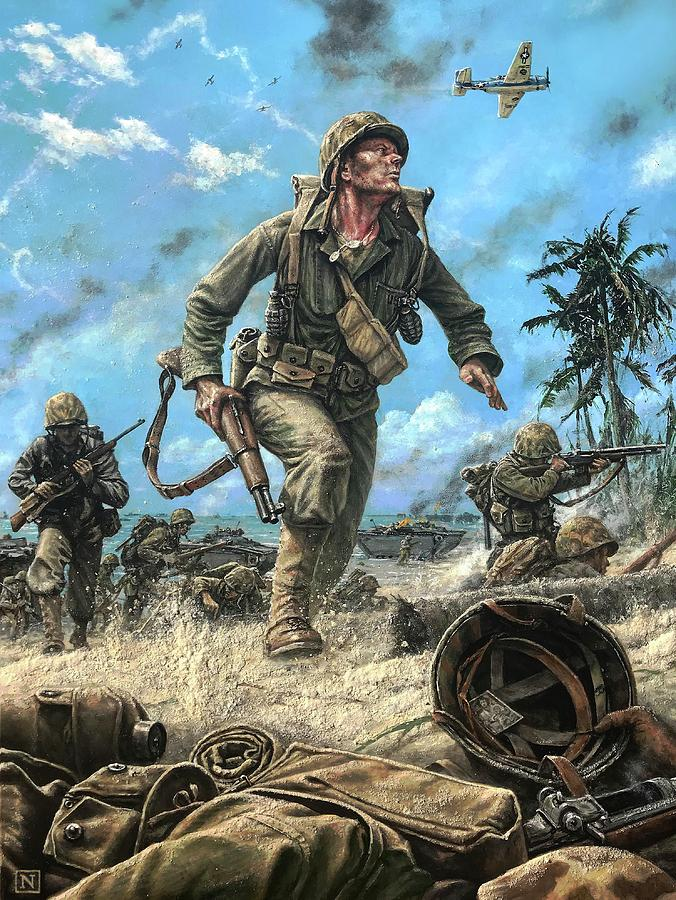Marines Painting - Marines In The Pacific by Dan Nance