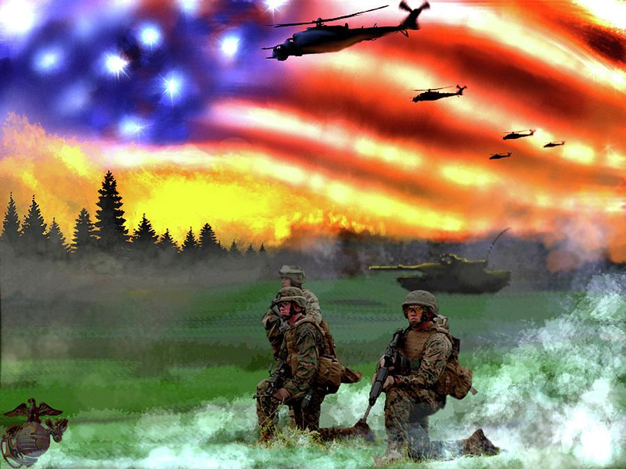 Marines Digital Art - Marines by Josh Burns