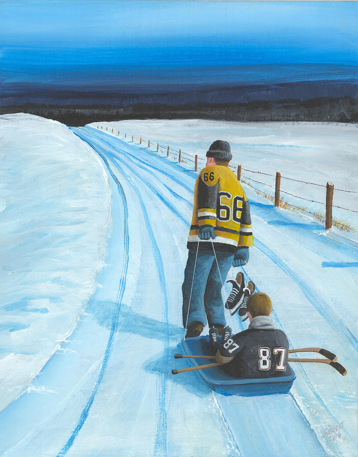 Hockey Painting - Mario And The Kid by Ron  Genest