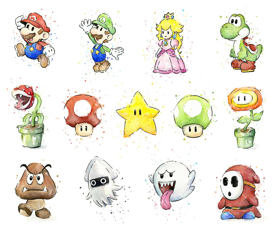 Mario Painting - Mario Characters In Watercolor by Olga Shvartsur