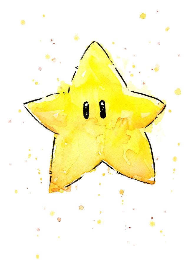 Star Painting - Mario Invincibility Star Watercolor by Olga Shvartsur