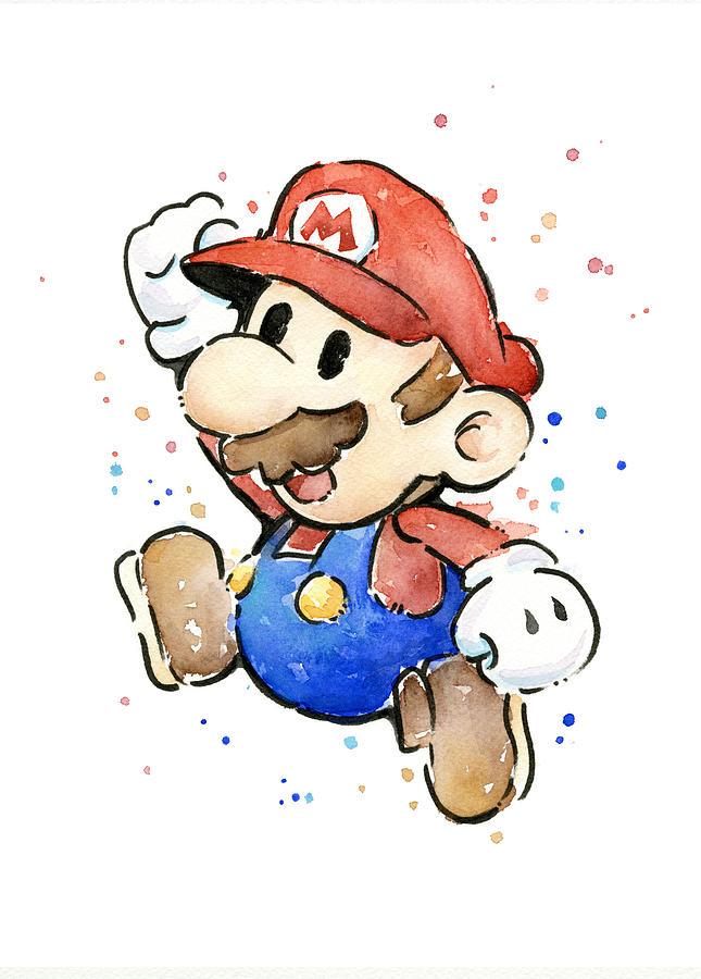 Mario Painting - Mario Watercolor Fan Art by Olga Shvartsur