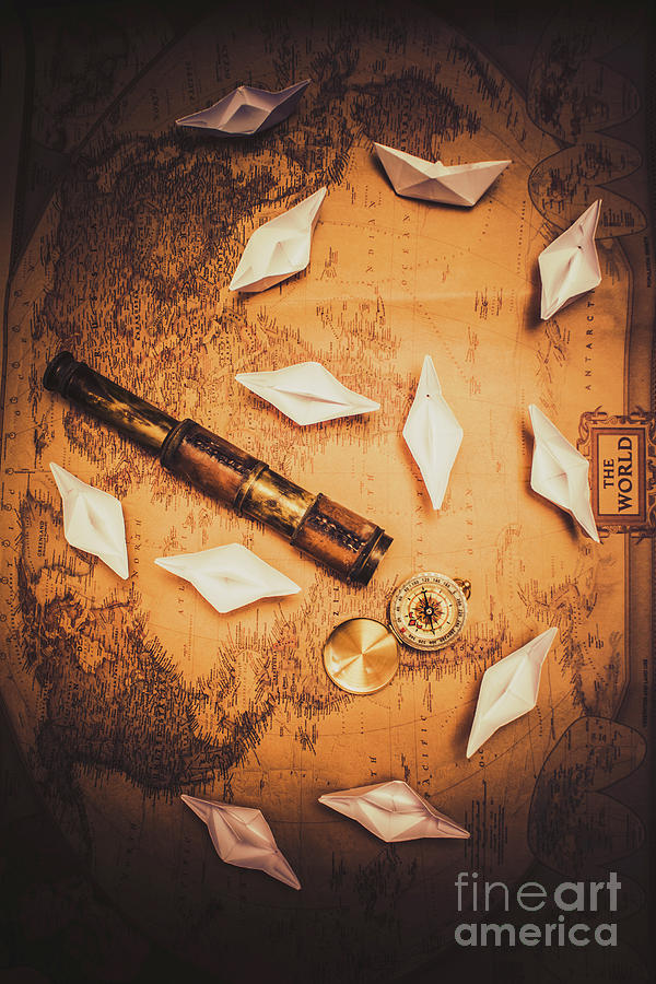 Exploration Photograph - Maritime Origami Ships On Antique Map by Jorgo Photography - Wall Art Gallery