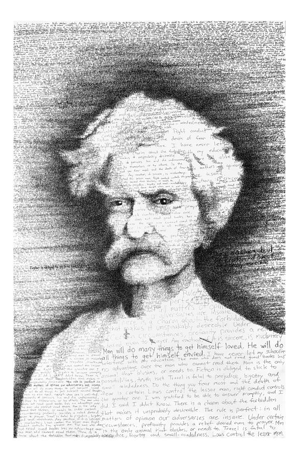 Mark Twain Drawing - Mark Twain in his own words by Phil Vance