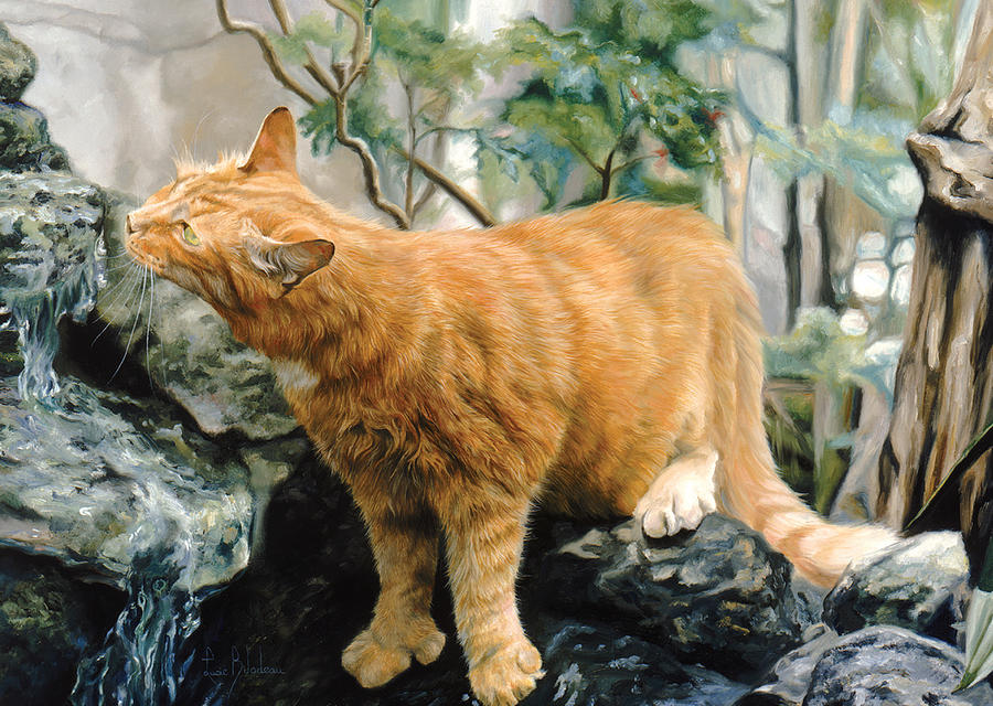 Cat Painting - Mark Twain by Lucie Bilodeau