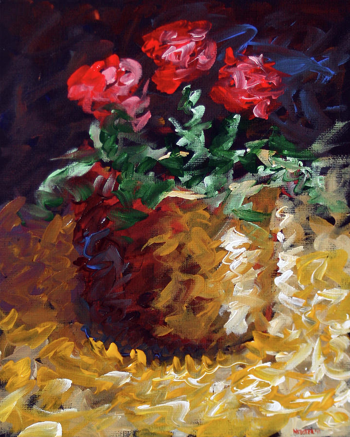 Abstract Painting - Mark Webster - Abstract Electric Roses Acrylic Still Life Painting by Mark Webster